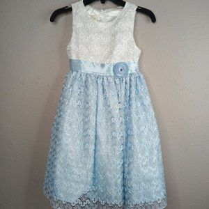 American Princess girls blue and white lace dress